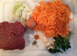 All the ingredients for Sweet Potato and Beef Sliders