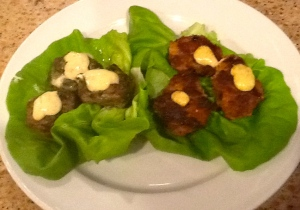 Spinach Meatballs and Sweet Potato Beef Patties. with Special Burger Sauce