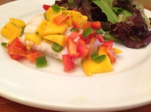 Mango Salsa on Baked Cod