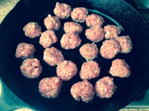 Meatballs cooking in the skillet!