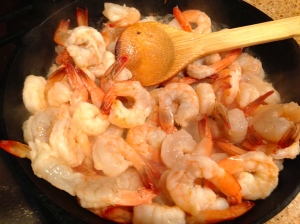 "2 lbs of shrimp overwhelm a 10"" skillet but it still will cook quickly."