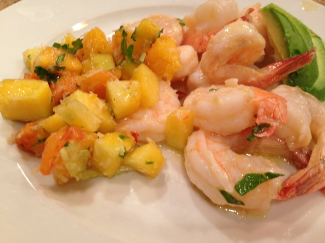 Shrimp with Toasted Coconut and Peach Salsa