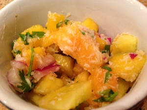 Toasted Coconut and Peach Salsa is just great with some shrimp!