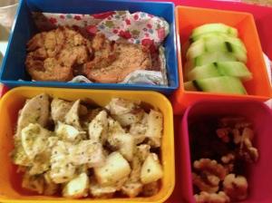 Paleo Lunch Box - Pesto Chicken Salad, Chai Sweet Potato Muffins and Veggies